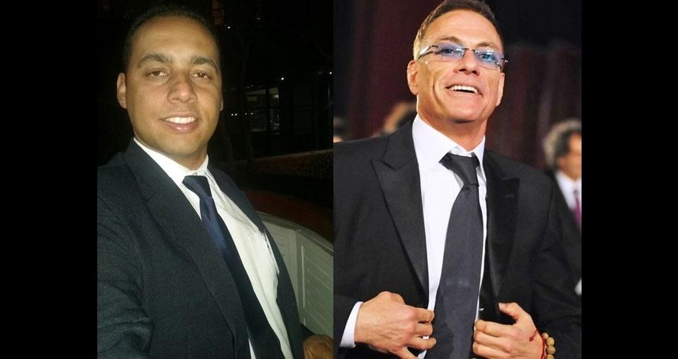 Thiago dos Santos Araújo, de São Paulo (SP), tem a cara e o físico de Jean-Claude Van Damme