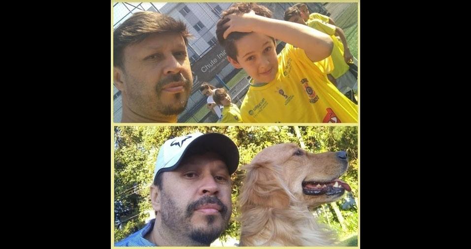 João Lopes, de São Paulo (SP), em montagem com os dois filhos Igor (acima) e Crystal (de perfil)
