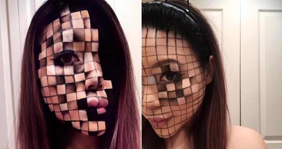 26. De quadradinho em quadradinho: um rosto inteiro maquiado