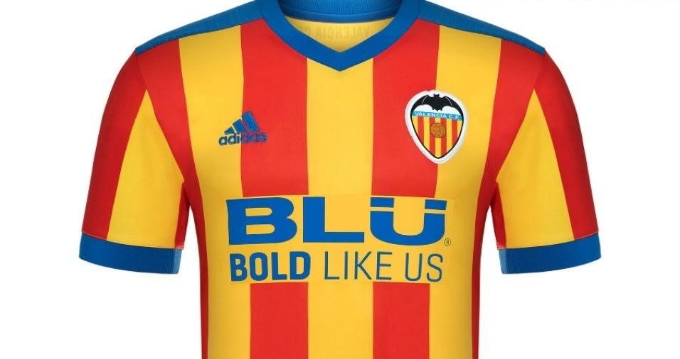25. Valência -  Os espanhóis terão a segunda camisa bastante colorida na nova temporada