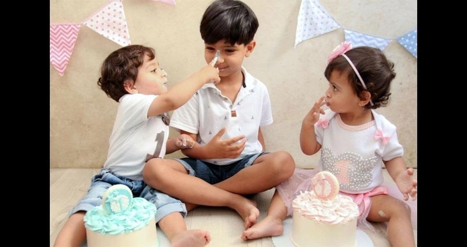 Tatiane e Jose Roberto enviaram foto dos filhos Juan, Isaac e Isabella