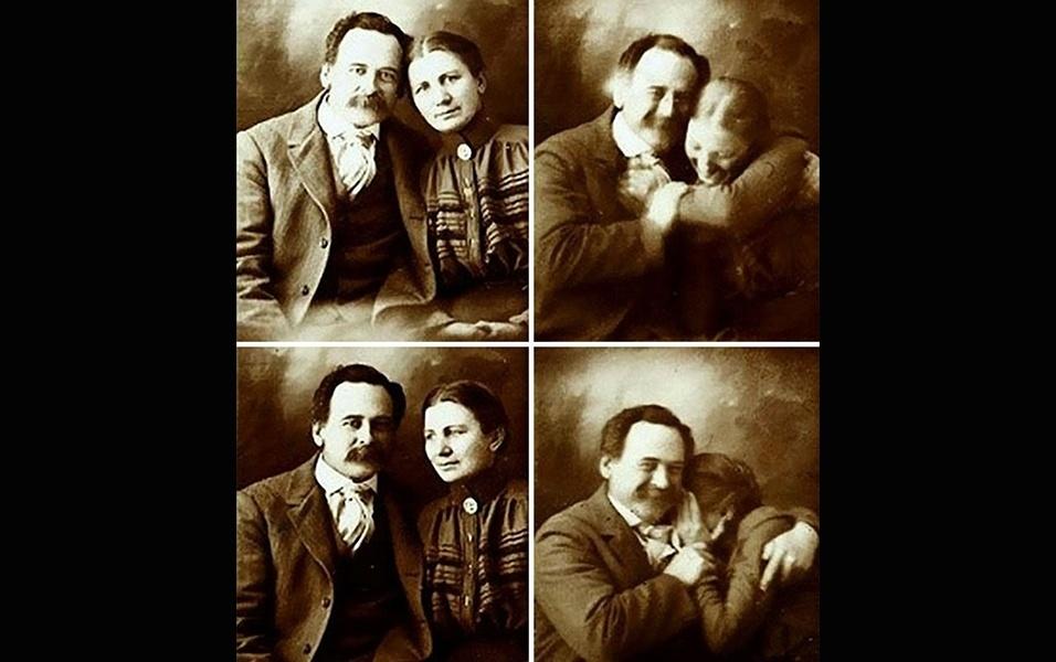 Um casal britânico tenta não rir ao tirar uma foto juntos em 1890. Esse tipo de retrato era o equivalente a uma selfie na época