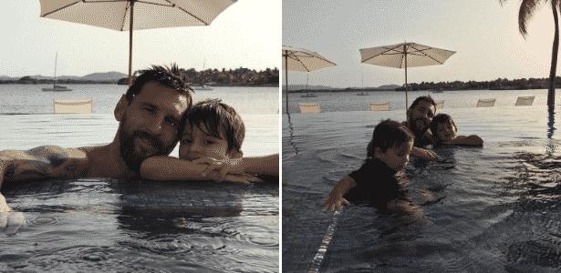 10.jul.2017 - Filhos de Messi com Antonella Roccuzzo, Thiago e Mateo acompanharam os pais em sua lua de mel - Reprodução/Instagram/leomessi