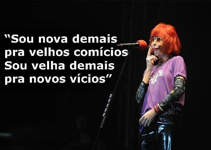 """Trecho da música """"Nunca fui santa"""", de 1988; foto de show da cantora no Projeto Verão Sergipe, em 2012"""