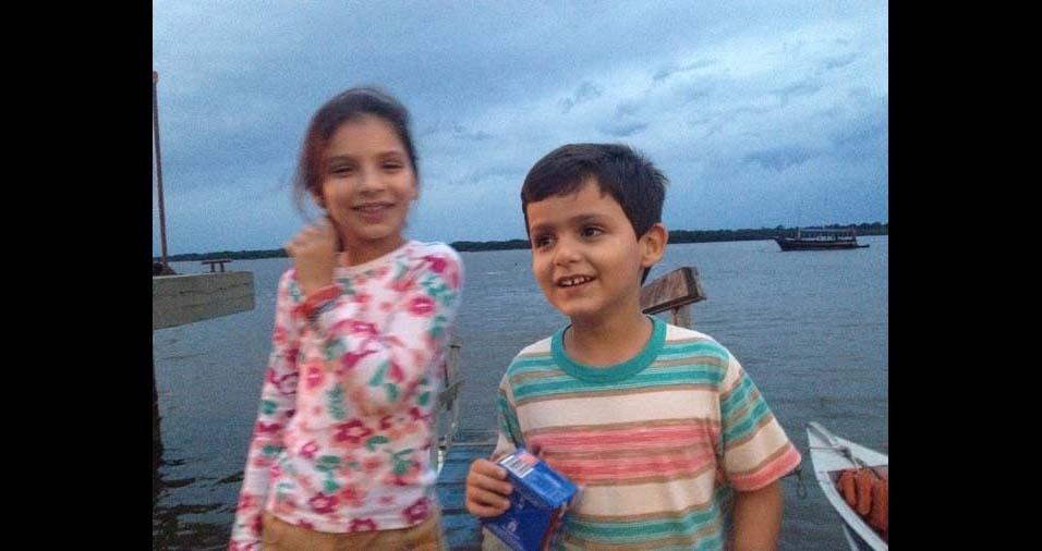 Fábio e Ivanete, de Jacupiranga (SP), enviaram foto dos filhos Maria Clara, dez anos, e João Pedro, sete anos