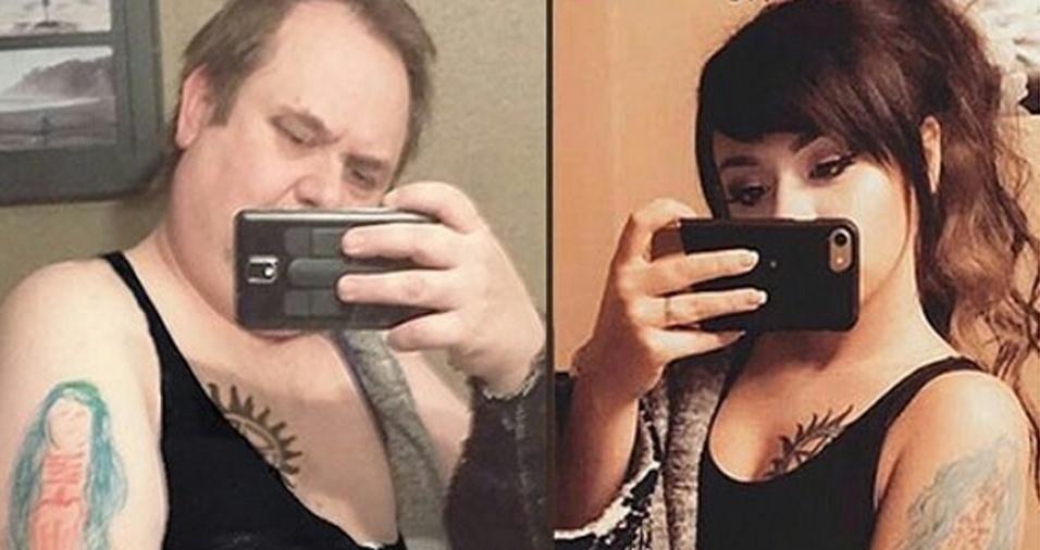 5. Outro detalhe é que algumas vezes Chris parece usar exatamente a mesma roupa de Cassie para reproduzir as fotos, apesar da evidente diferença de tamanho entre eles