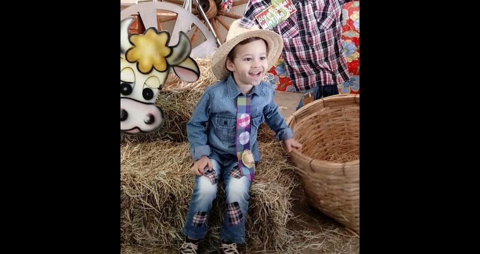 Os pais Fábio Tézon Marquini e Katte de Paula Fazan enviaram foto do filho Miguel, de Ouroeste (SP)