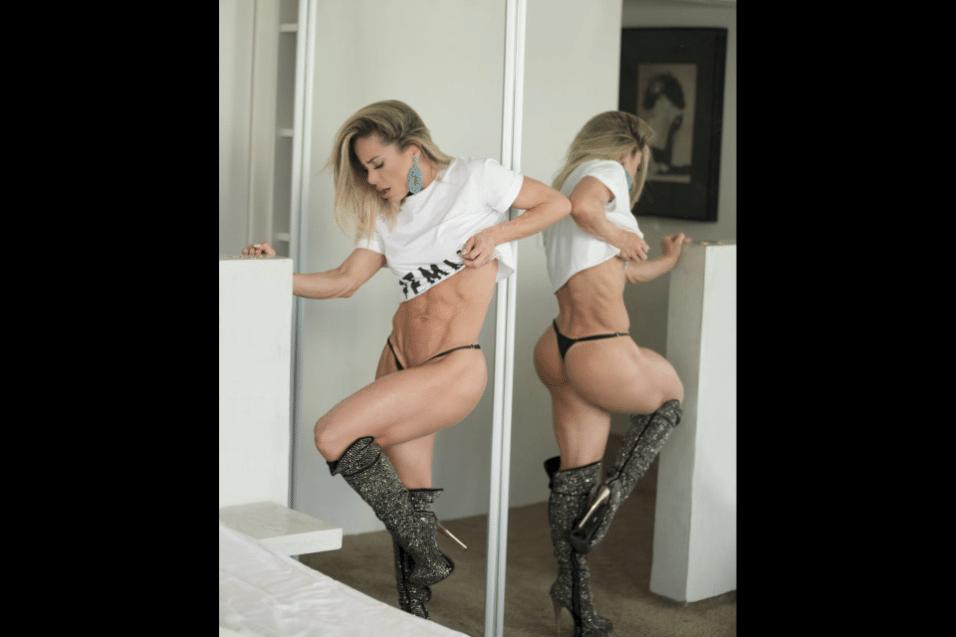 24.ago.2017 - Grazy Alcântara exibiu o corpo sequinho em ensaio fotográfico, antes de embarcar para competição internacional de musas fitness