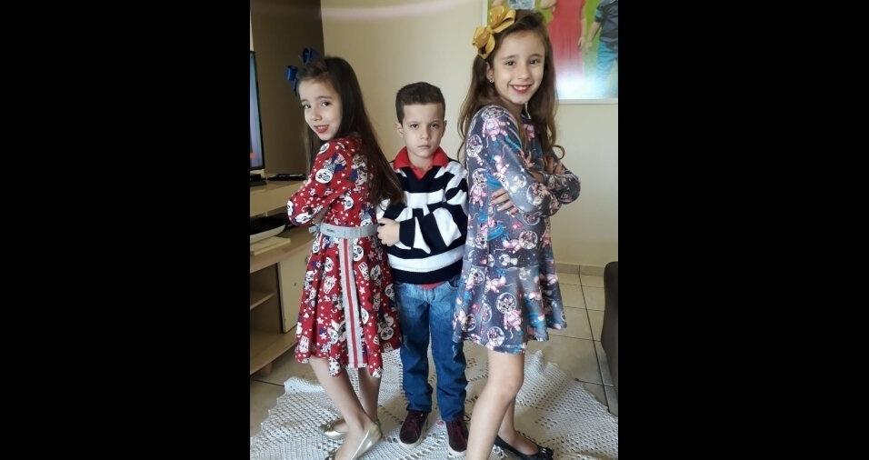 Laura, Vitor e Olivia, filhos da Carolina Vieira Corrêa, de Irapuã (SP)