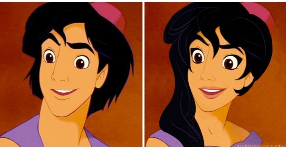 6.jan.2016 - Aladdin (1992) também passou por troca de gênero em ilustrações