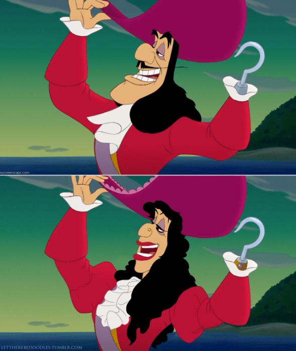 6.jan.2016 - O Capitão Gancho não perdeu seu jeito vil em versão feminina, ilustração faz parte de série de artista que muda gênero e etnia de personagens tradicionais da Disney