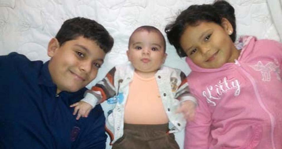 Fernando, de Uberlândia (MG), enviou foto dos filhos Fernando Henrique, Lucca campos e Maria Clara