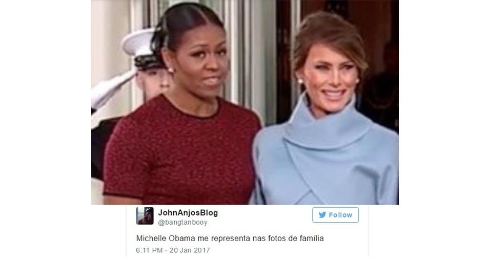 23.jan.2017 - Entre os internautas brasileiros, se destacam as piadas que dizem que Michelle Obama está desconfortável em tirar fotos ao lado dos Trump, assim como ocorre com pessoas um pouco introvertidas que não gostam de fotos em família