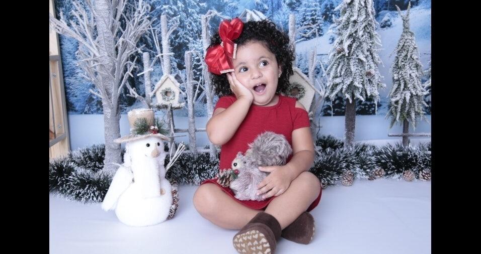 Papai Pierre Luiz Arruda Cruz enviou foto da pequena Isabelly, dois anos, de Rio Grande da Serra (SP)