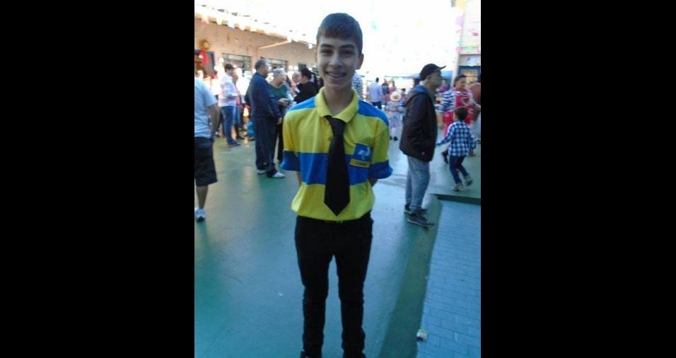 Renato Sposito, de São Paulo (SP), enviou foto de seu filho Ivan, de 14 anos, que curtiu a festa junina de uma forma bem original