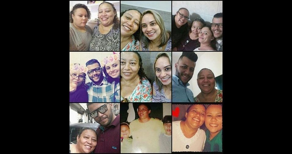 """Mônica Ferreira Gabriel, de Diadema (SP), apresenta a família: """"Essa é a minha mãe Maria do Carmo comigo e meus irmãos, Eduardo e Patrícia"""""""