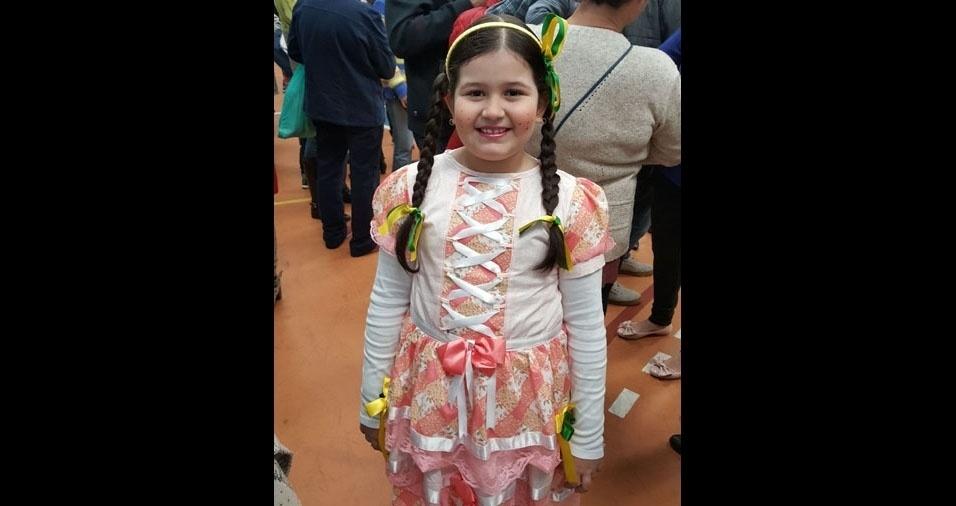 Carlos Alberto Soares Junior e Daiane Couto Lins Soares enviaram foto da filha Heloísa, de sete anos. A família é de São Paulo (SP)