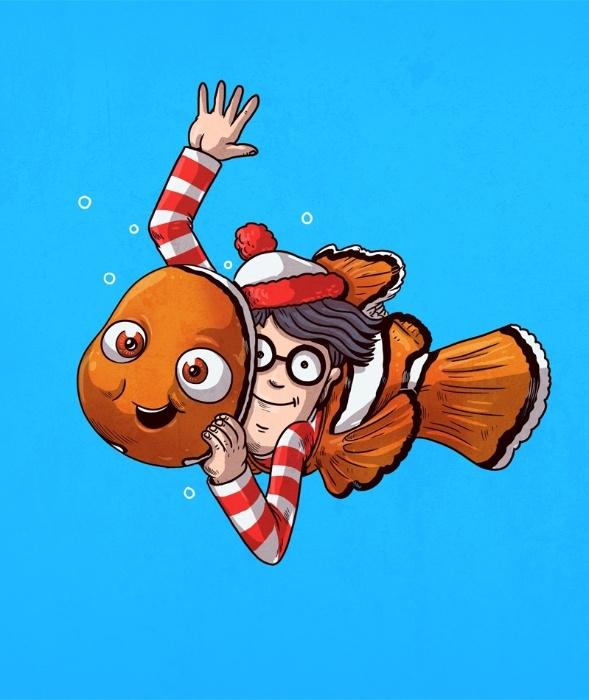 21.out.2015 - Da série quem procura acha, Alex Solis reuniu os simpáticos Nemo e Wally em uma de suas ilustrações
