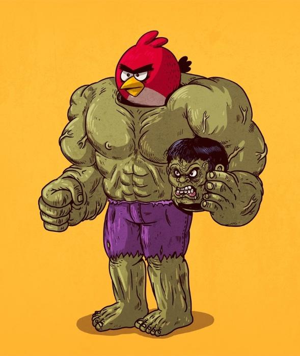 """21.out.2015 - O mau humor e a fome de destruição são duas características comuns entre o """"Angry Bird"""" e Hulk"""