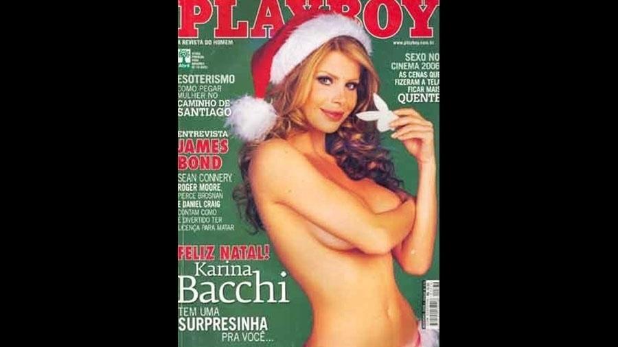 Karina Bacchi foi capa da Playboy em 2006. Na época, o ensaio da gata causou um alvoroço por conta de um piercing na região íntima