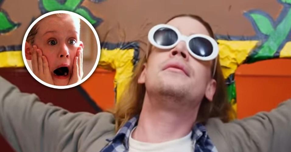"""27.abr.2017 - Eterno (ou não) astro da franquia """"Esqueceram de Mim"""", o ator Macaulay Culkin, hoje com 36 anos, surgiu estrelando um vídeo clipe como Kurt Cobain (morto em 1994), vocalista do Nirvana. No papel do rock star, o ator aparece crucificado em algumas cenas"""