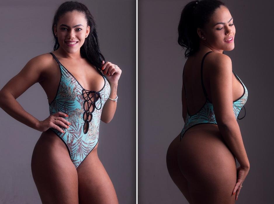 """11.jul.2017 - Representante de Santa Catarina no Miss Bumbum 2017, Rangel Carlos posou com um body cavado para um ensaio fotográfico e destacou suas """"armas"""" para o concurso. A modelo destacou que está treinando duro para chegar à final, em São Paulo, com tudo em cima"""
