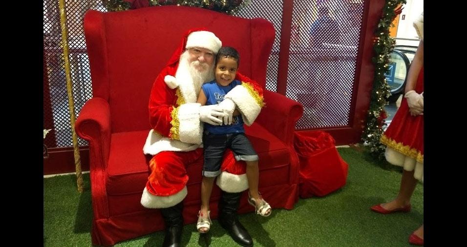 Edenilza, de Luis Eduardo Magalhães (BA), enviou foto do filho Paulo Eduardo com o Papai Noel