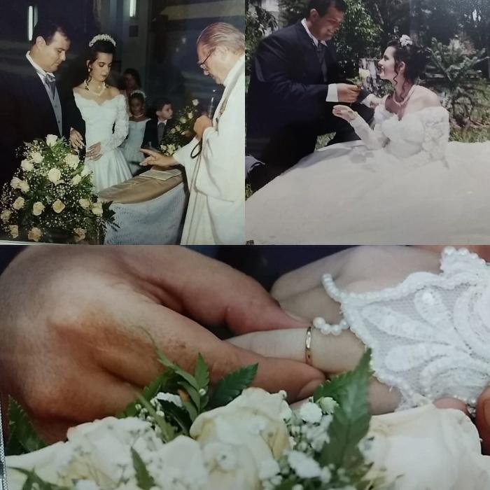 """Cintia R. Nardo Andreassa e João Carlos Andreassa, de Ribeirão Claro (PR), em 05/02/2000 - """"Os momentos mais abençoados deste dia"""""""