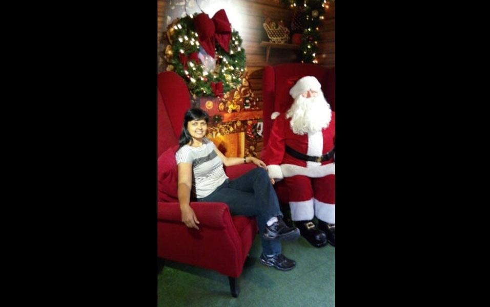 Fabiana Bednarek, de Carapicuiba (SP),  na casa do papei Noel