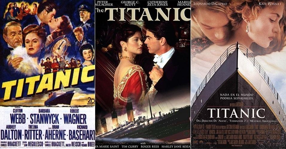 """Hollywood reproduziu a tragédia do Titanic em ao menos três filmes, todos com o nome do navio. O primeiro foi dirigido por Jean Negulesco em 1953, e era protagonizado por Robert Wagner e Barbara Stanwick. Em 1996, foi lançada a versão do diretor Robert Lieberman, que contava com Peter Gallagher e a bela Catherine Zeta-Jones. Um ano depois, foi a vez de James Cameron lançar o seu """"Titanic"""", que acabou se tornando o filme mais famoso sobre o navio. Protagonizado por Leonardo DiCaprio e Kate Winslet, a versão de Cameron foi indicada em 14 categorias no Oscar, levando 11 estatuetas"""