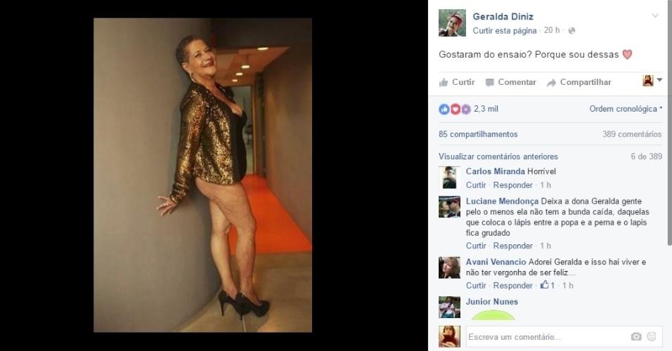 """10.mai.2016 - Dona Geralda posa ensaio sensual para divulgar a sua participação no concurso Miss Bumbum Melhor Idade e rebate as críticas. """"O que seria do verde se todos gostassem do amarelo"""", questionou a ex-BBB nas redes sociais"""