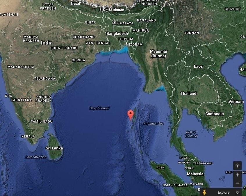 21.mai.2016 - Local fica no oceano Índico, entre a Índia e a Malásia