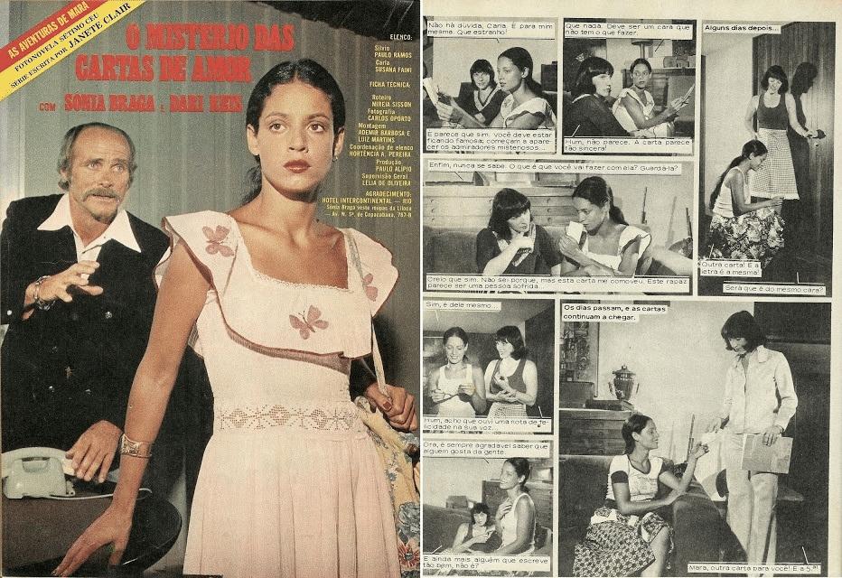"""Fev.1975 - Sonia Braga estrelou a fotonovela """"O Mistério das Cartas de Amor"""", trama em que a morena recebia cartas de um admirador secreto"""
