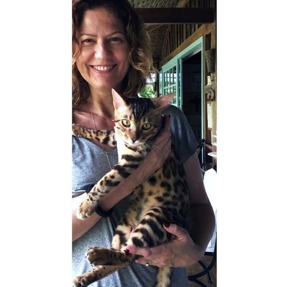 """Dez.2016 - """"Sebastian, o gato"""", apresenta a atriz global Patrícia Pillar, com o felino no colo, em imagem compartilhada no Instagram"""