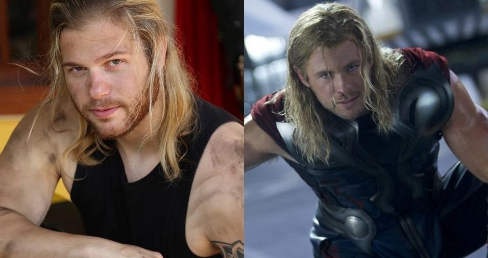 """14. Thor (Chris Hemsworth) - Gabriel é cosplayer oficial do personagem dos filmes de ação """"Thor: Ragnarok"""" e """"Avengers"""". O fisioterapeuta faz aparições em eventos e trabalhos fotográficos caracterizado de Thor"""