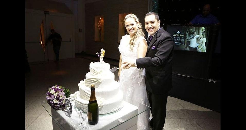 Bruno Milani e Tatiana Vitale se casaram em 19 de março de 2016, em São Bernardo do Campo (SP)