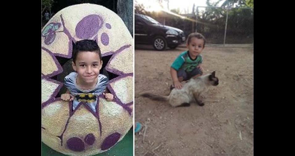 """Joycelene, de Itupeva (SP), enviou foto dos filhos Samuel Joaquim, de sete anos, e Thiago, de dois anos: """"Minha homenagem ao dia das crianças!"""""""