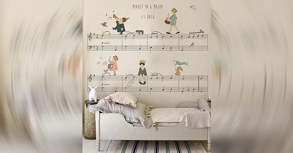 31. E por que não introduzir a criança às notas musicais com um lindo papel na parede?