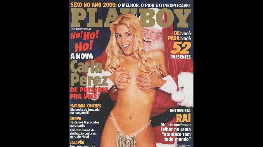 Em seu ensaio mais polêmico, em dezembro de 2001, Carla Perez cobria os seios abraçada por um Papai Noel