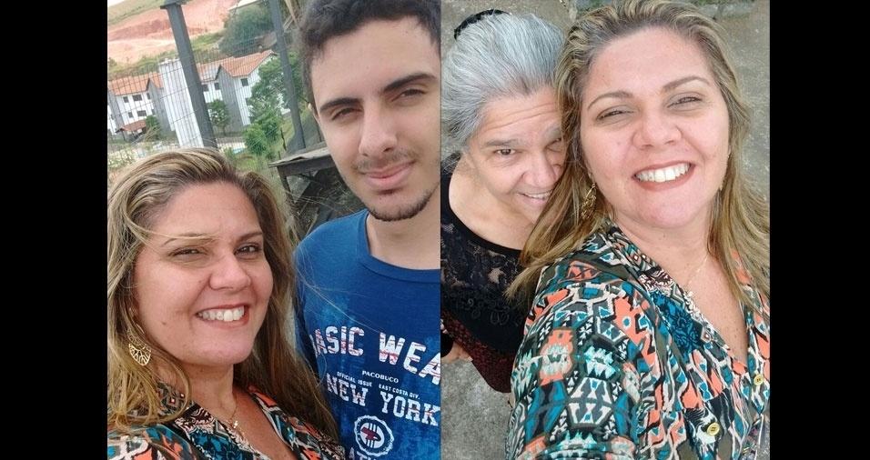 Márcia Sanches, de Bragança Paulista (SP), com o filho Alex Sander e com a mãe Rosa Maria