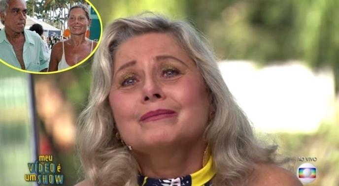 """2.nov.2016 - A atriz Vera Fischer foi homenageada ao vivo no """"Vídeo Show"""" desta terça-feira (1)e chorou ao se recordar de Perry Salles, com quem foi casada. Vera declarou que o falecido ator foi o amor de sua vida e, com lágrimas nos olhos, recebeu consolo de Otaviano Costa e Joaquim Lopes, depois da reexibição de um vídeo no qual Perry cantava a música Luiza para ela. Perry morreu em 2009 em decorrência de um câncer de pulmão"""