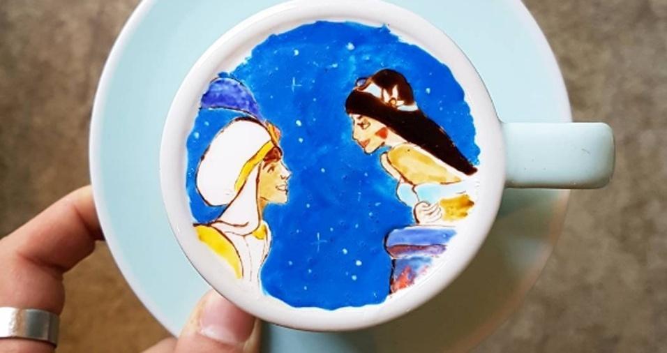 24. Jasmine e Aladdin em uma xícara. Por essa o gênio não esperava