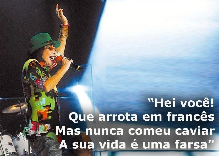 """Trecho da música """"Farsa"""", de 1990; foto da gravação do especial de Natal da TV Globo, no Rio de Janeiro (RJ), em 2008"""