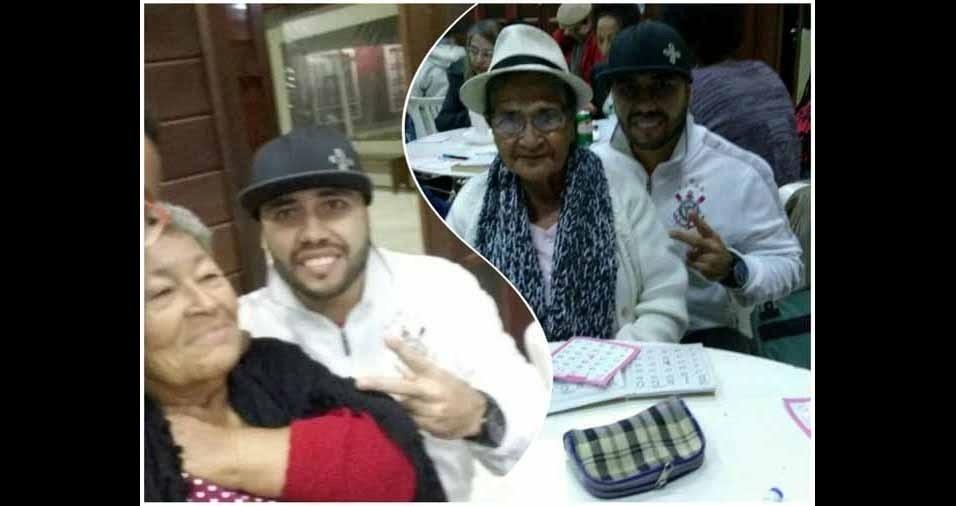Felipe Rodrigues da Silva, de Guaratinguetá (SP), com suas avós, dona Dita e dona Terezinha