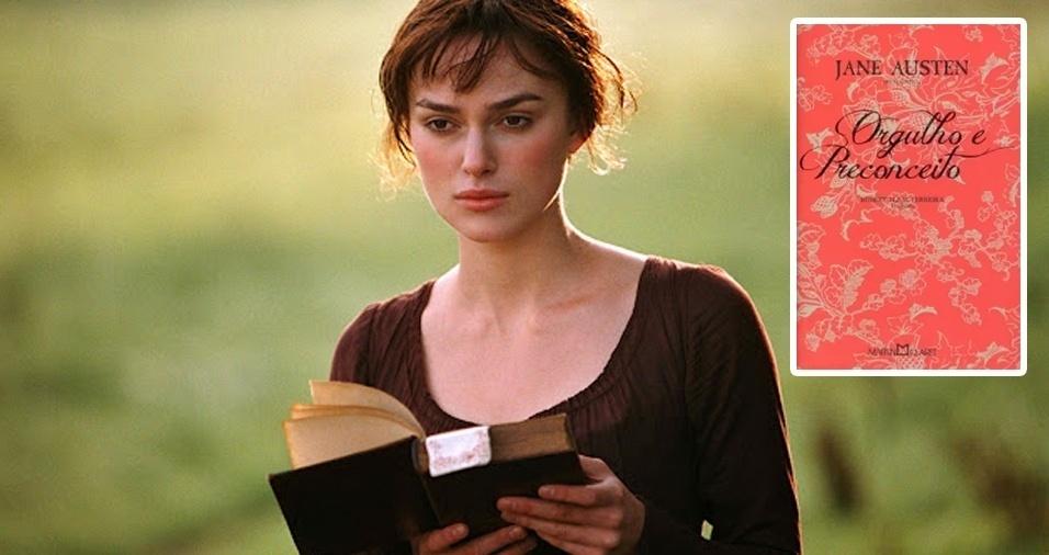 """9. A atriz Keira Knightley já fez diversos papéis no cinema, um deles foi como Elizabeth Bennet, personagem da adaptação do livro """"Orgulho e Preconceito"""", de Jane Austen. Com certeza, um momento de alegria para Keira, que tem a obra como sua favorita"""