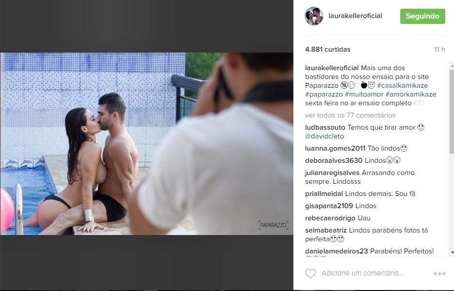 """6.jul.2016 - Laura Keller divulgou mais uma imagem do ensaio sensual feito para o Paparazzo com o marido, Jorge Sousa. No registro, a beldade aparece saindo de uma piscina sem a parte de cima do biquíni. O casal foi o grande vencedor da primeira temporada do reality show """"Power Couple"""", exibido pela Record"""