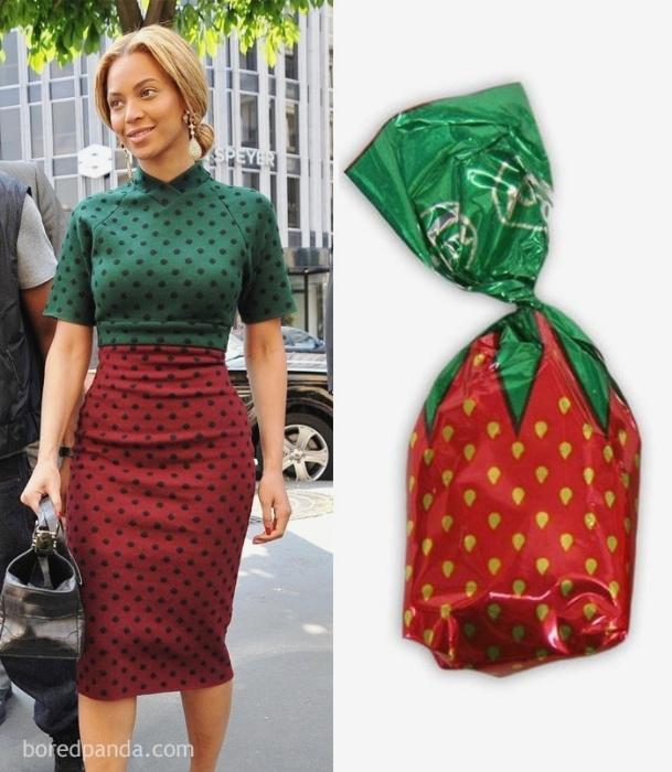 Fev.2017 - A cantora Beyoncé e uma embalagem clássica de bala de morango