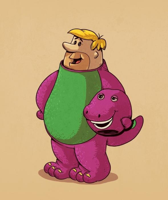 21.out.2015 - Sem sair da pré-história ou mudar de nome, o dinossauro Barney é apenas mais uma brincadeira do amigo de Fred Flintstone