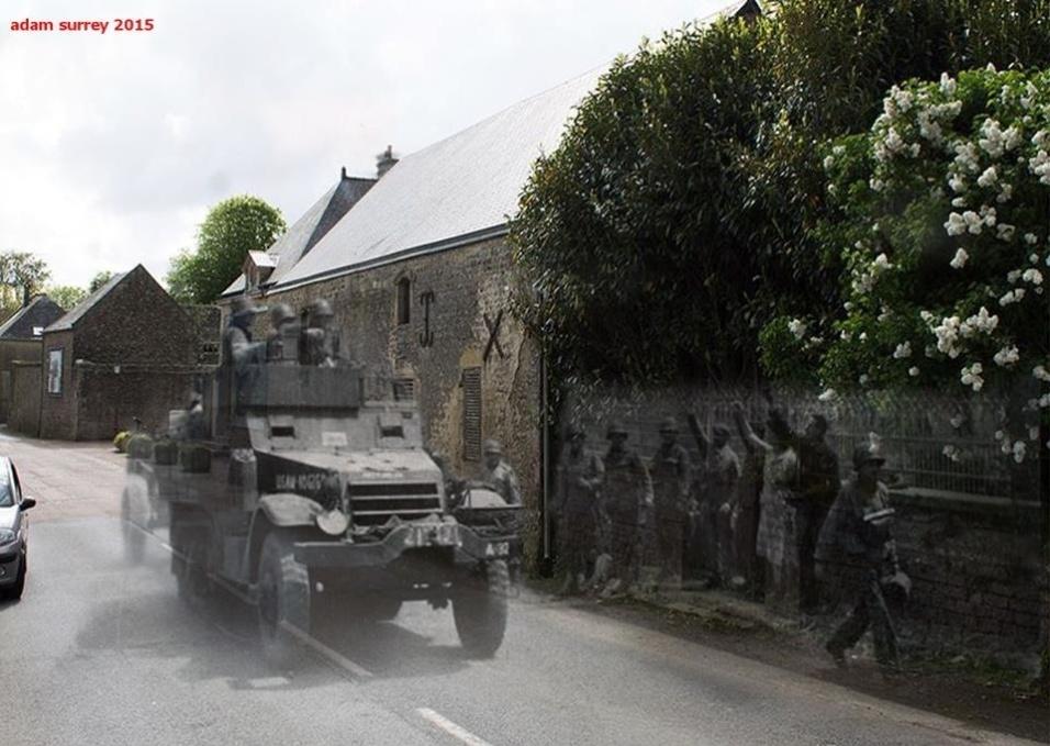 """24.nov.2015 - Tropas norte-americanas """"desfilam"""" por ruas francesas, em foto de junho de 1944. Hoje, o cenário é bem diferente"""