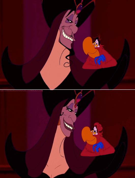 """6.jan.2016 - Os vilões também passaram pelas transformações do artista TT Brent. Jafar, o antagonista de """"Aladdin"""" (1992) virou uma simpática bruxa"""